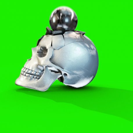 FOOTAGE – Silver Gold Exploding Skull – PixelBoom