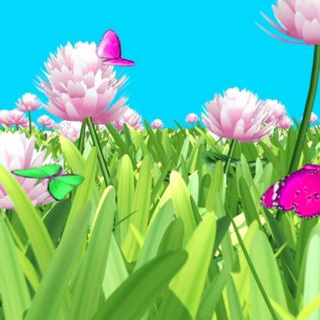 Butterflies Flying over Flower Meadow – PixelBoom