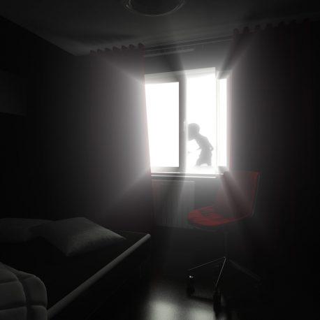 Light Shine Dark Room Alien Abduction Loop Animated Background PixelBoom