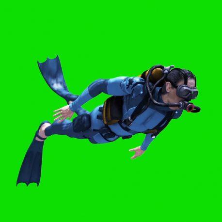 Diver Swim Scuba Diving Cylinders PixelBoom