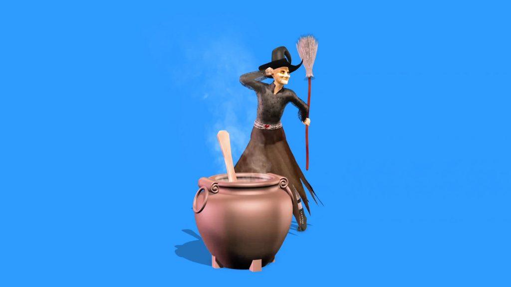 Witch Dances Cauldron – 3D Model Animated