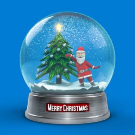 Snow Globe Santa Claus Dance Christmas Tree PixelBoom