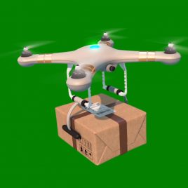 Drones Quadcopter Delivering Package PixelBoom