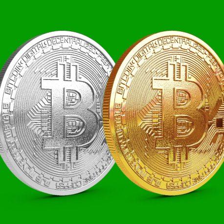 Platinum and Golden Bitcoin coin rotating PixelBoom