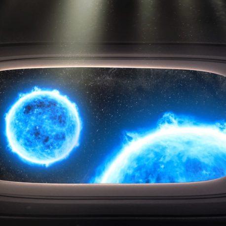 Spaceship Window Stars Planets Wormhole PixelBoom