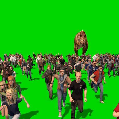 Dinosaur Roar People Run Away Terrified PixelBoom