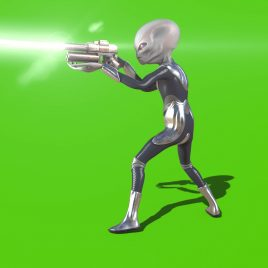 Gray Alien with Uniform Shoot Gun Green Screen 3D Animation PixelBoom