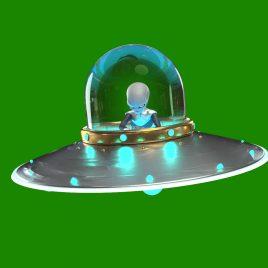 Gray Alien with Uniform Spaceship UFO PixelBoom