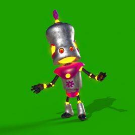 Green Screen Metal Robot Soldier 3D Animation PixelBoom