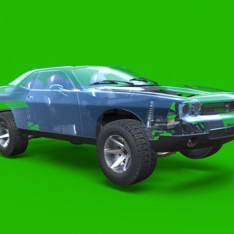 Green Screen Wheel Shock Absorber Car PixelBoom