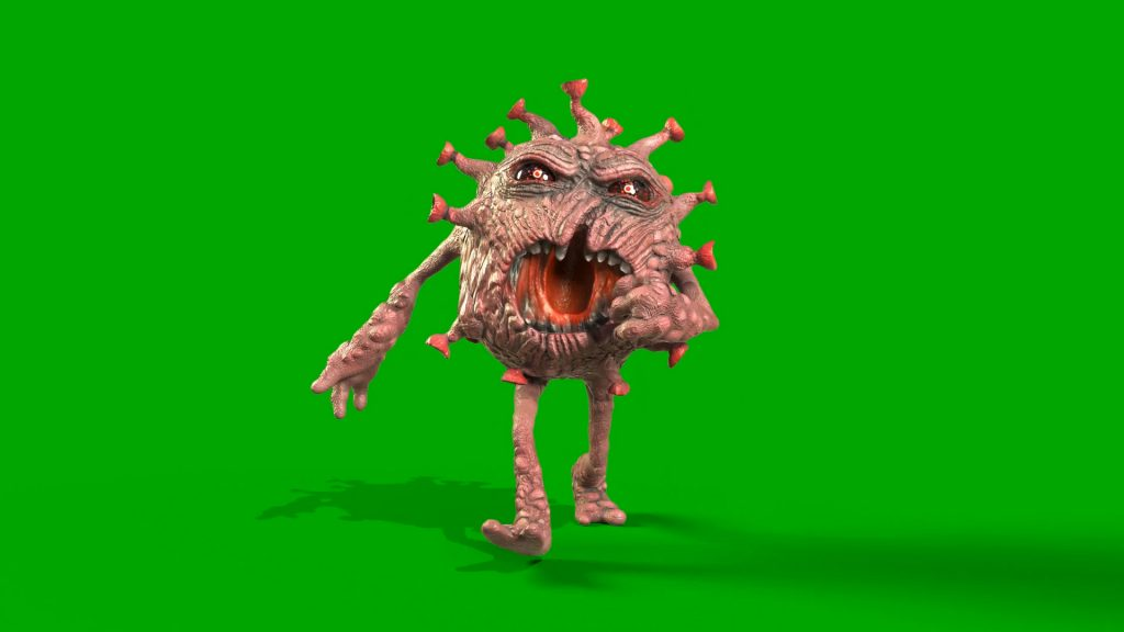 Green Screen Virus Monster 3D Animation PixelBoom