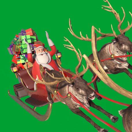Green Screen Santa's Sleigh Christmas Gifts Reindeer PixelBoom