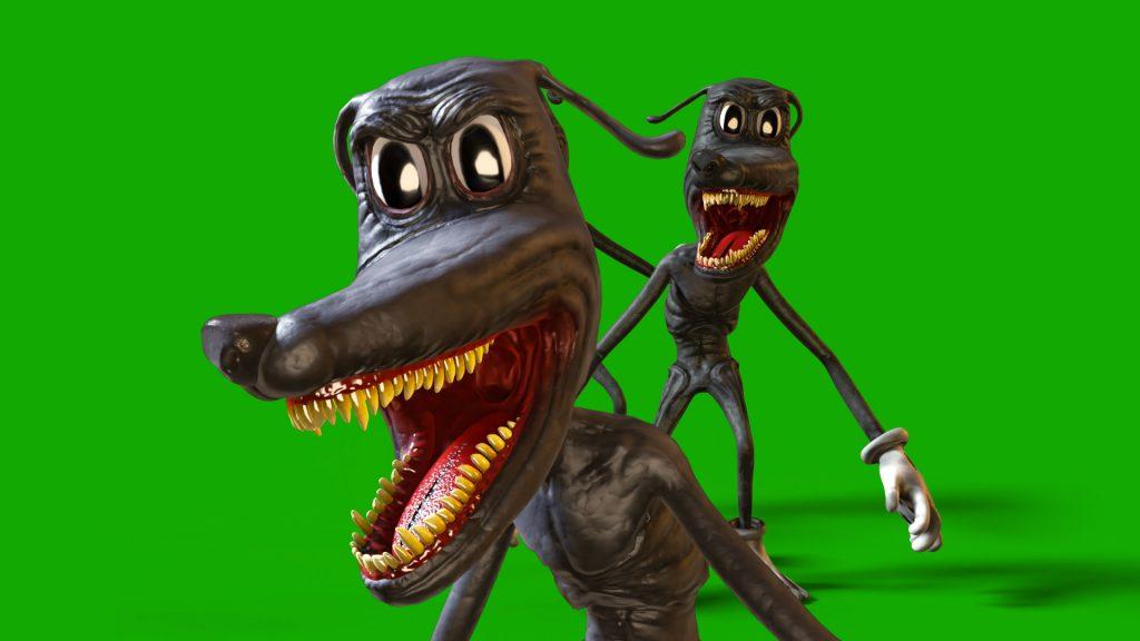 Cartoon Dog Jumpscare Green Screen 3D Animation PixelBoom2