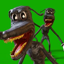 Cartoon Dog Jumpscare Green Screen 3D Animation PixelBoom2