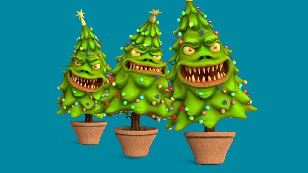 Monster Christmas Tree Blue Screen 3D Animation PixelBoom