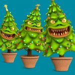 Monster Christmas Tree Blue Screen 3D Animation PixelBoom
