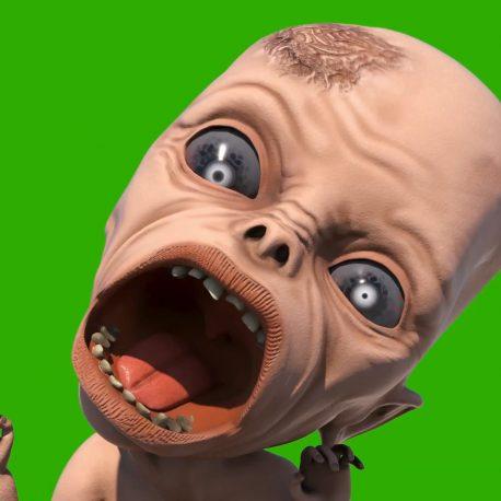 Green Screen Forgotten Baby Monster 3D Animation PixelBoom