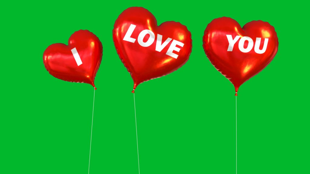 Balloon I LOVE YOU Green Screen Valentine's Day 3D Animation PixelBoom 4K