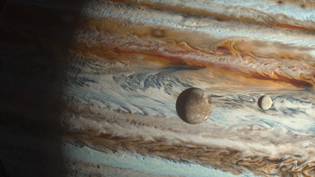 Jupiter and its Moons Io Europa Ganymede Callisto 3D Animation