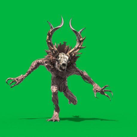 Green Screen Wendigo Mythological Creature 3D PixelBoom