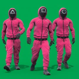 Green Screen Squid Game Guards 3D Animation PixelBoom